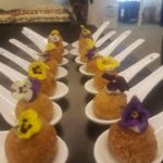 28 Polenta ball with herb mayo & edible flowers on chinese spoon