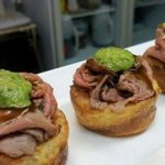 37 Roasted beef with salsa verde soaked in gravy, Mini yorkshire