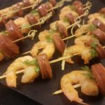 43 spanish chorizo and prawns on sticks