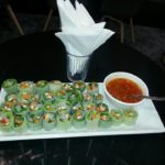 54 Vietnamese rolls with papaya and prawns in sweet chili sauce dip