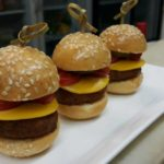 8 delicious Beef burger with swiss cheese, sesame seed bun
